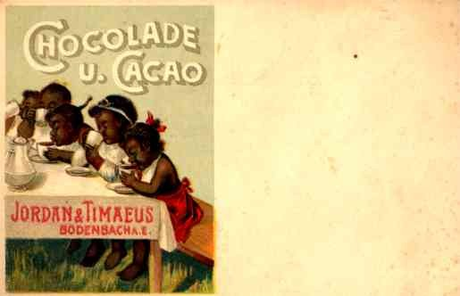 Advert Cocoa Drinking Black Children at Table