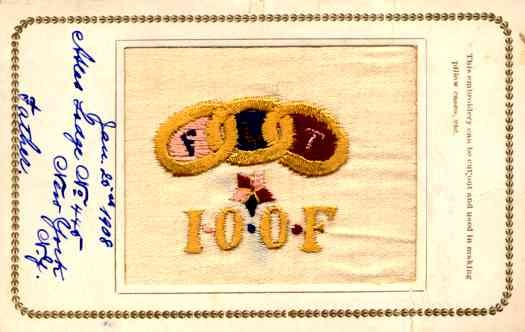Embroidered Silk Odd Fellows Fraternal