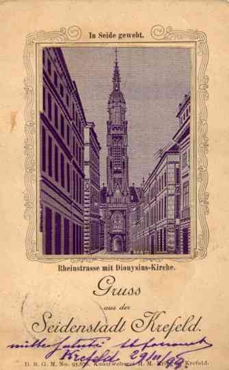 Woven Silk Germany Crefeld Church Gruss Aus