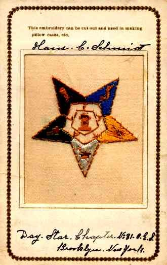 Embroidered Silk Day Star Fraternal