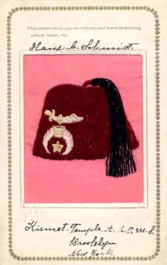 Embroidered Silk Fraternal Shriners Hat