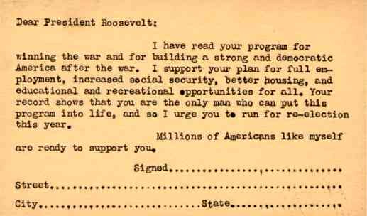 Support Card for Re-Election President Roosevelt