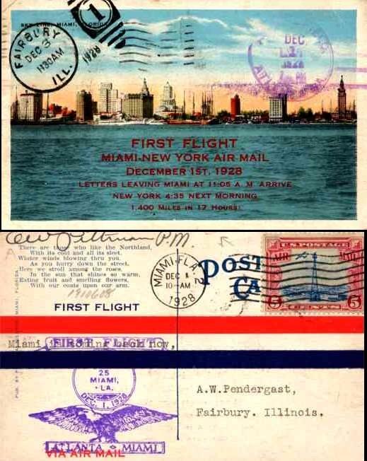 First Flight Miami-New York Air Mail 1928