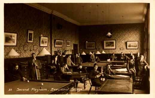 College Boys Playing Billiards Chess Real Photo