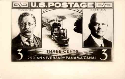 Enlarged Stamp Pres. Roosevelt Panama Canal RP