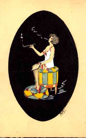 Smoking Girl in Negligee Pochoir French