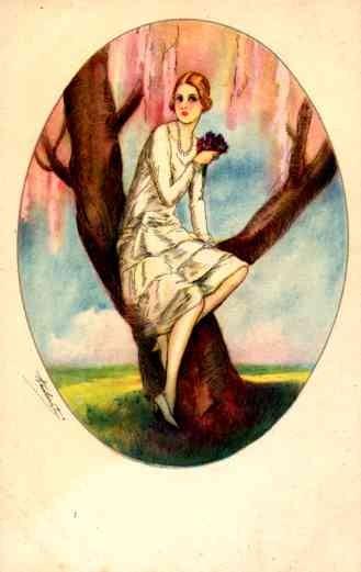 Girl on Tree in Spring