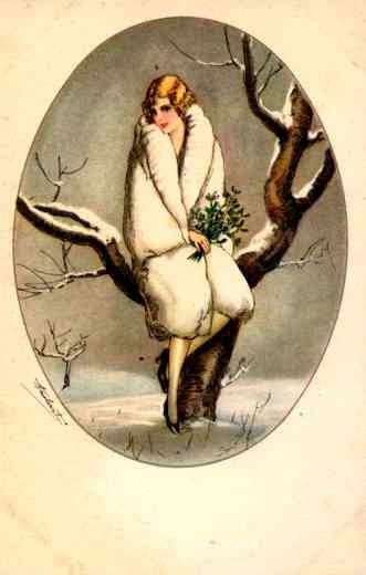 Lady in Winter Sitting on Tree