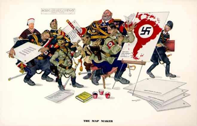WW2 Hitler Drawing Nazi Map Szyk