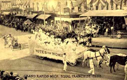 Womens Suffrage Float Parade Grand Rapids MI
