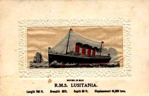 Embroidered Silk Ocean Liner Lusitania