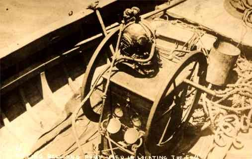 Diver's Hard Hat Submarine Disaster Real Photo