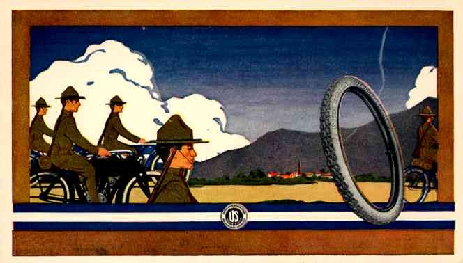 Motorcycling Soldiers Advert Tires