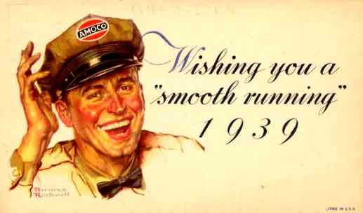 Advert Amoco Gasoline Smiling Driver 1939
