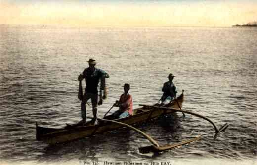 Hawaiian Fishermen in Canoe