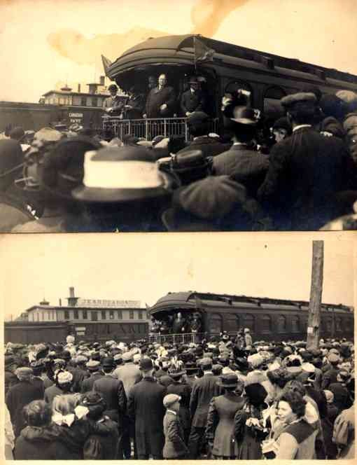 President Taft Giving Speech from Train Real Photo