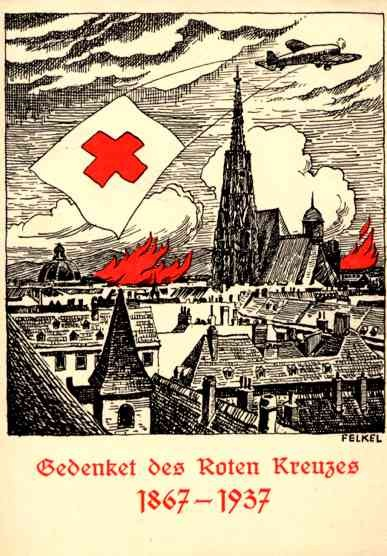 Airplane over City and Red Cross Flag
