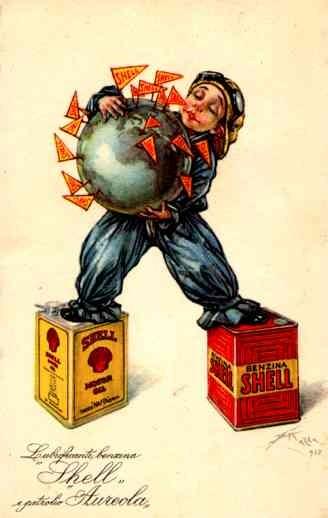 Advert Shell Gasoline Globe Italian
