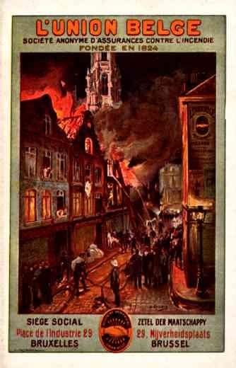 Advert Fire Insurance Belgian Poster