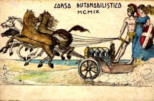 Horse-Drawn Auto Hand-Painted Italian