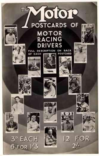 Auto Racing Drivers RP Postcard Advert England