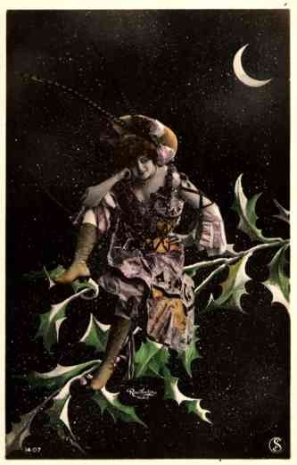Lady Moon Hand-Tinted Real Photo French