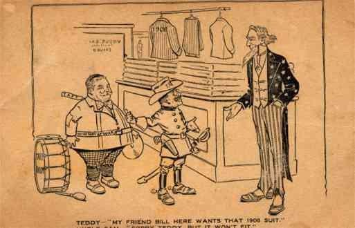 Uncle Sam Roosevelt Taft Campaign Cartoon