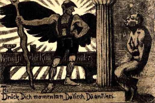 German Secessionist Art Angel & Devil