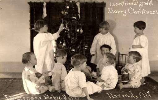 Christmas Tree & Children Real Photo