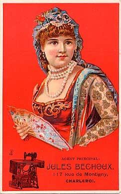 Advert Sewing Machine Lady Fan