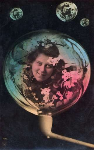 Lady Flowers in Bubble Pipe Tinted Real Photo