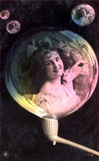 Smiling Lady in Bubble Pipe Tinted Real Photo