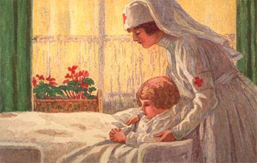 Nurse Helping Child in Bed