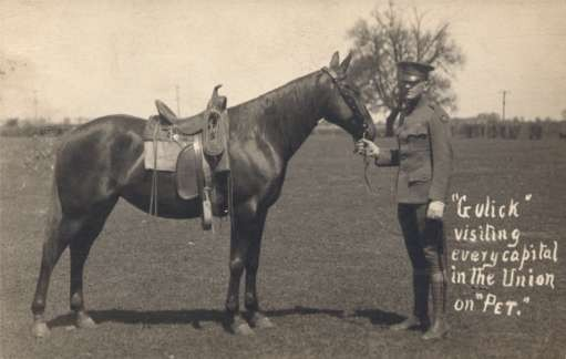 Soldier with Horse Real Photo
