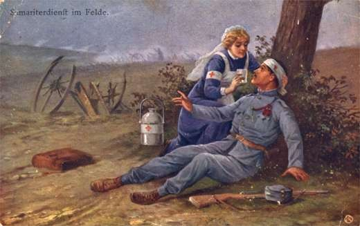 Nurse Giving Glass of Water to Wounded WWI