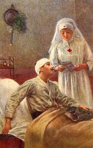 Nurse Reading to Wounded at Hospital WWI