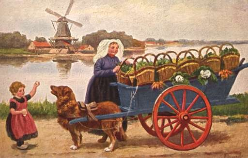 Child Dog-Drawn Cart with Baskets Wind Mill