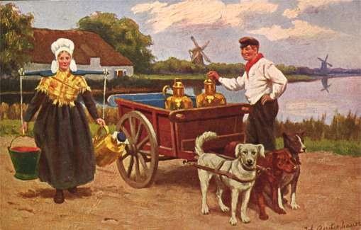 Dog-Drawn Milk Cart Wind Mills