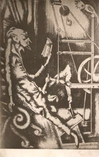 Devil with Book Spinning Wheel Parrot Real Photo