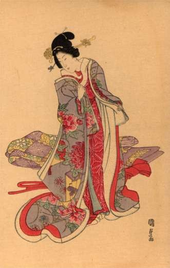Rich Lady Looking Down Woodblock