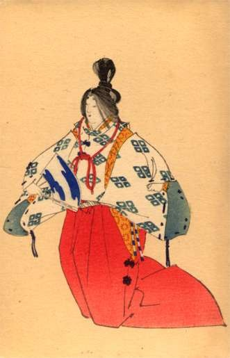 Japanese Lady with Fan Woodblock