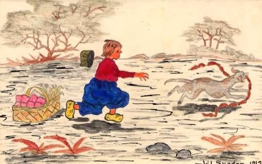 Dutch Child Chasing Dog with Sausage Hand-Drawn