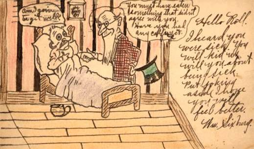 Sick at Bed Doctor Hand-Drawn