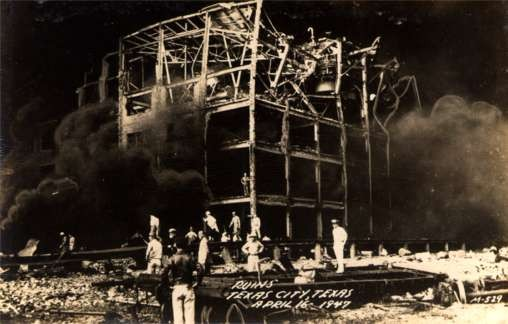 Fire Workers at Site of Ruins Texas City Texas RP