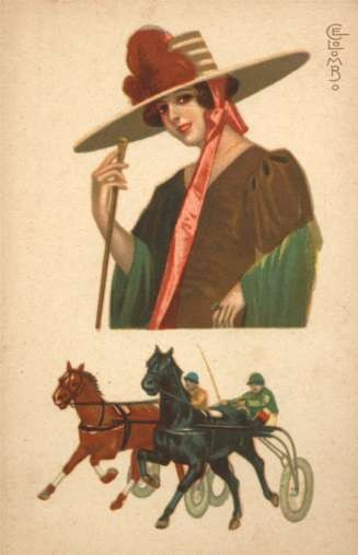 Harness Racers Lady in Hat with Feather Art Deco