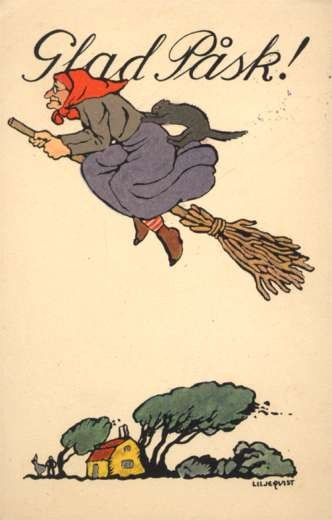 Witch Cat on Broom In Flight House Down