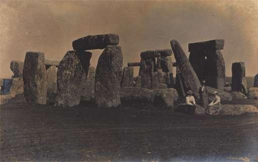 Ladies on Rocks Stonehenge Real Photo