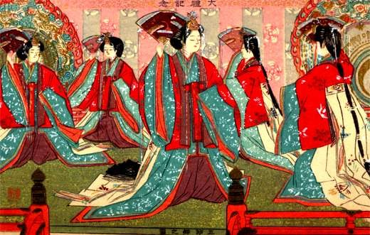 Dancing Japanese Women with Fans Woodblock