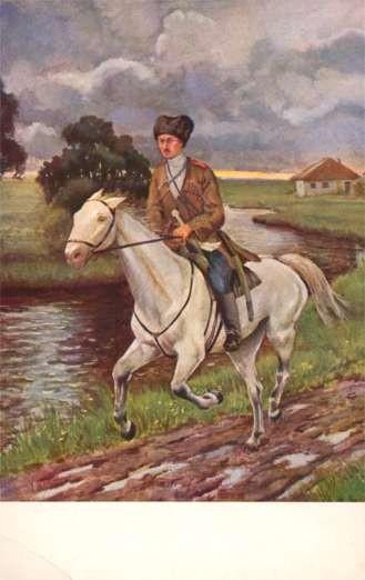 Grand Duchess Olga as Cossack on Horse