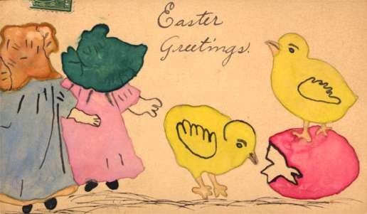 Sunbonnet Gilrs Chick on Egg Hand-Drawn